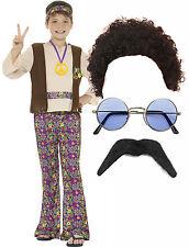 Hippy Hippie Smiffys Boys Kid Child 60s 70s Fancy Dress Costume Afro Wig Glasses