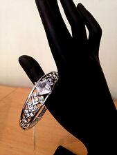Rhinestone Crystal Womens Oval Bangle Bracelet