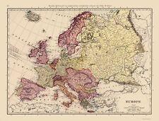 Old Europe Map - Rand McNally 1898 - 23 x 30.27