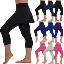 Women Skirt Leggings Tennis Pants Sports Fitness Full Length Cropped Culottes