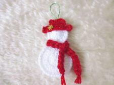 Winter snowman appliques and ornaments Christmas Santa hand crochet decor