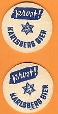 2 ALTE BIERDECKEL ca 5mm-KARLSBERG BIER-AUS DER FRANKENZEIT-ca 50 JAHRE ALT-(2)