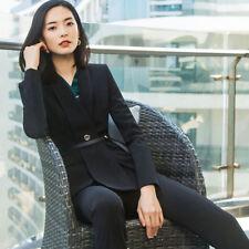 1b6bfefcedd2 Elegante Tailleur completo donna nero slim giacca manica lunga pantaloni  7172