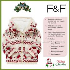 NEW Girl's Fair Isle Hooded Christmas Xmas Cardigan Children Baby For Girl