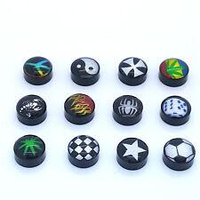 Par de 9mm negro Unisex Artificial tapones acero inoxidable logo Tacha piercing