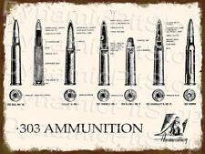 30x40cm Rifle .303 Ammunition Diagram Rustic Tin Sign or Decal