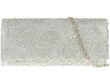 Brand new silver femmes dentelle floral satin soirée sacs à main parti prom mariage