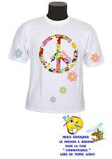 tee shirt fille fleur peace love personnalisable prénom au choix réf 128