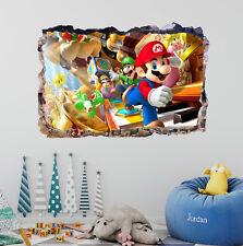 Super Mario Bros Smashed 3D Wall Decal Sticker Mural Art Home Decor Vinyl DA37
