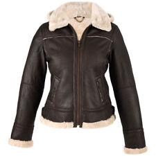 Ladies Genuine Leather and Sheepskin Aviator Jacket with Detachable Hood