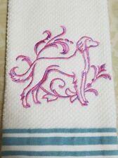 Saluki Dog Sight hound Kitchen Tea Towel Custom Embroidery