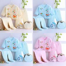 5PCS Newborn Baby Boy Girl Cartoon Long Sleeve Tops+Hat+Pants +Bib Outfits Set