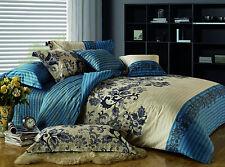 New REVERSIBLE blue flowers King size 4pcs Duvet Cover Set