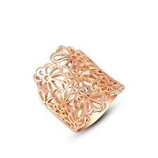 Luxus Ring Blumen 750er Gold 18 Karat vergoldet rosegold Damen R2848S