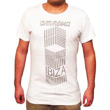 UFFICIALE AMNESIA IBIZA Club Uomo T-Shirt Logo CUBISMO Visual Bianco Grigio RRP £ 50