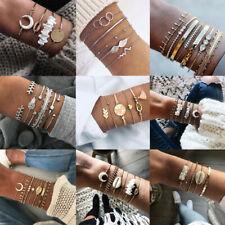 Fashion Charm Women Jewelry Set Stainless Steel Cuff Bracelets Bangle Chain Gift