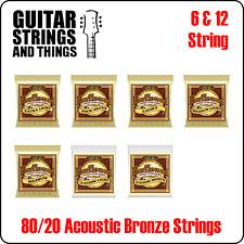 Ernie Ball Earthwood 80/20 Bronze 6 & 12 String Acoustic Guitar Strings