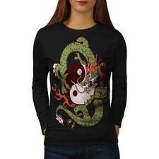 Wellcoda Dragon Yin Yang Art Womens Long Sleeve T-shirt, China Casual Design