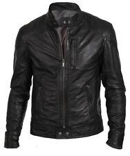 New Men's fashion Biker Hunt Black Leather Jacket motorcycle