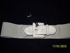 "Style & co. Ladies Khaki Elastic Stretch Belt 3"" Width Snake Print Buckle Sz M/L"
