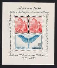 Switzerland Sc 242 MNH. 1938 Aarau Philex S/S, lt stain