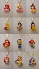 "Princess Belle Aurora Ariel Sofia Cinderella Snow White Pendant 18"" Necklace"