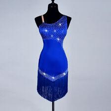 Latin Dance Dress Salsa Tango Cha cha Ballroom Crystal Tassel Blue Dress N168