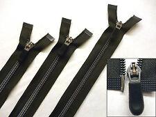 Zip, Zipper,Medium Weight,Open End, Nylon,Black Rubber Grip Puller 18 - 26inch