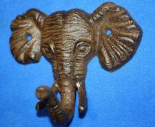 "Elephant Wall Hooks Cast Iron, 5"" wide, Wild Elephant Africa Decor, H-40"