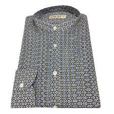 ICON LAB 1961 camisa de hombre, cuello guru, fantasía, 100 % algodón ligero