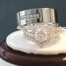 HIS HERS ENGAGEMENT WEDDING RING BRIDAL SET TITANIUM /STERLING SILVER CZ