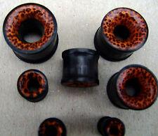 Piercing chirurgico Flesh Tunnel Plug Tube Orecchio Ear CORNO legno coconut Leopard Look 6mm-18mm