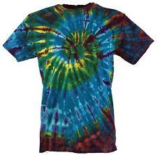 Batik T-Shirt, Herren Kurzarm Tie Dye Shirt - blau/braun Spirale