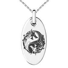 Stainless Steel Tribal Dragon Yin Yang Symbol Circle Oval Rectangle Pendant