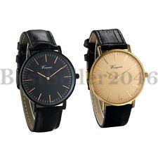 Men Women Ultra-Thin Quartz Movement Slim Watch with Black Genuine Leather Band