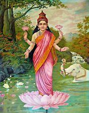 Goddess Lakshmi by Raja Ravi Varma. Fine Art Repro Made in U.S.A Giclee Prints