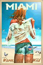 Miami Florida New Beach Poster Pin Up Jeans Shorts Girl Seagulls Art Print 267