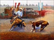 Rodeo Tile Backsplash White Western Cow Horse Art Ceramic Mural JWA008