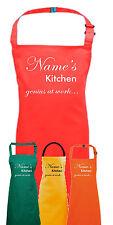 PERSONALISED APRON mums nans kitchen dad grandma grandad genius at work fun gift