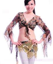 New Belly Dance Blouse Bolero Flower Pattern Flared Blouse Top Jacket 3 colors