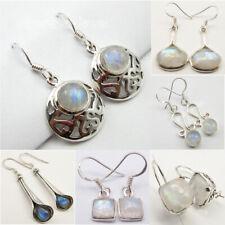 925 Sterling Silver Real RAINBOW MOONSTONE Earrings ! Choose STYLES, GEMSTONES