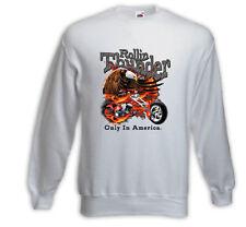 Biker Pullover Rolling Thunder weiß Bike Racing USA Skull V8
