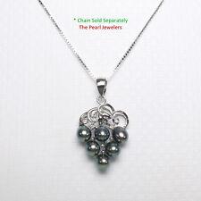14k White Gold Grape Design Diamond & Black- Green Freshwater Pearl Pendant TPJ