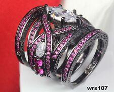 Fantasy Marquise Pink Sapphire Disney Black Rhodium Engagement Wedding Rings