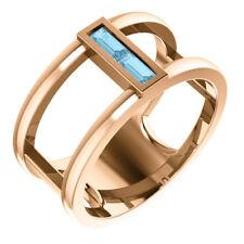 Genuine Aquamarine Baguette Negative Space Ring In 14K Rose Gold