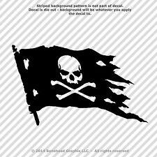 Jolly Roger Set of 2 Skull and Cross Bones Pirate Flag 3.4 inch Vinyl Decals