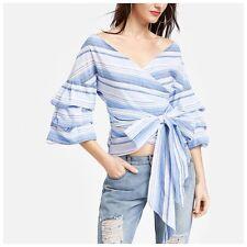 DA18 Blue & White Stripe Ruffle Puff Sleeve Wrap Tie Off The Shoulder Blouse Top