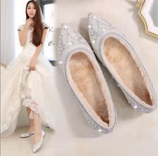 Silver Womens Loafers Pointed Toe Wedding Bridal Shoes Flat Rhinestones Plus R58