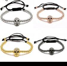 Crystal skull bracelet birthday Christmas skull bracelet mothers day unisex 360