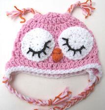NEW INFANT BABY CROCHET OWL EAR FLAP HAT cap beanie pink girl photo prop USA